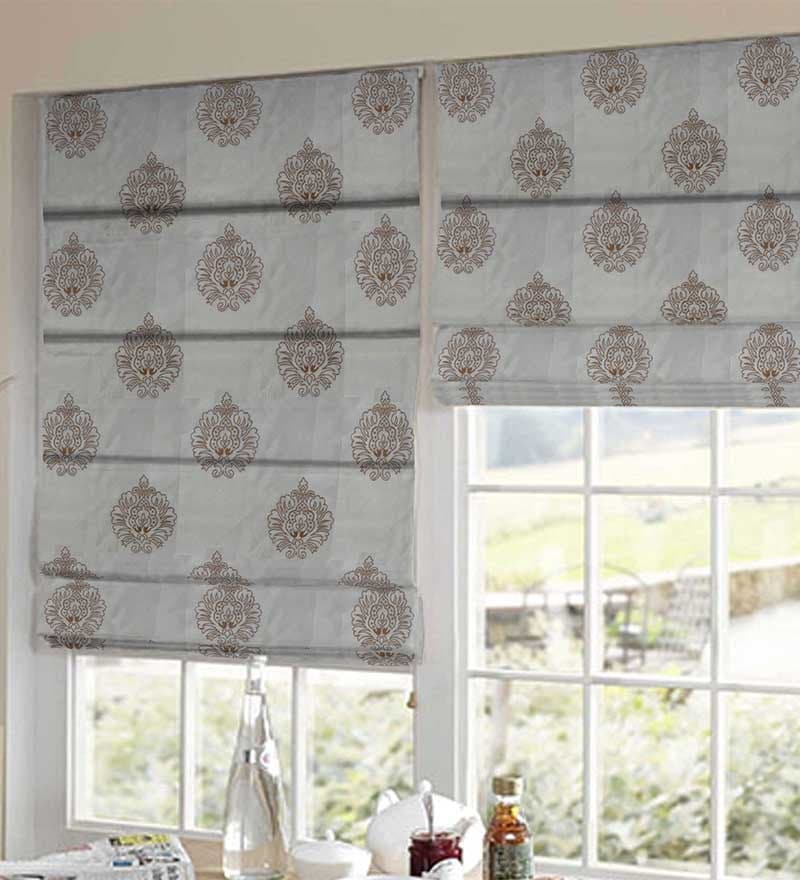 Yellow & Brown Polyester Embroidered Window Blind by Presto