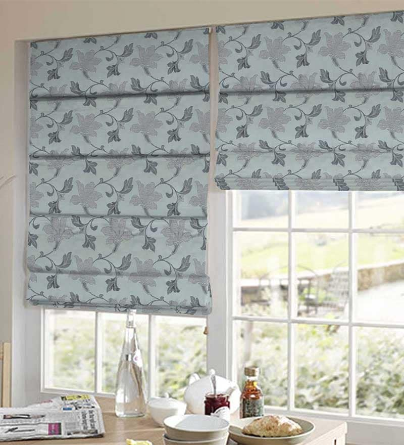 Grey Polyester Floral Window Blind by Presto