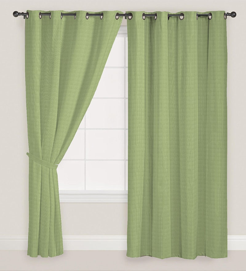 Green Polyester Solid Door Curtain - Set of 2 by Presto