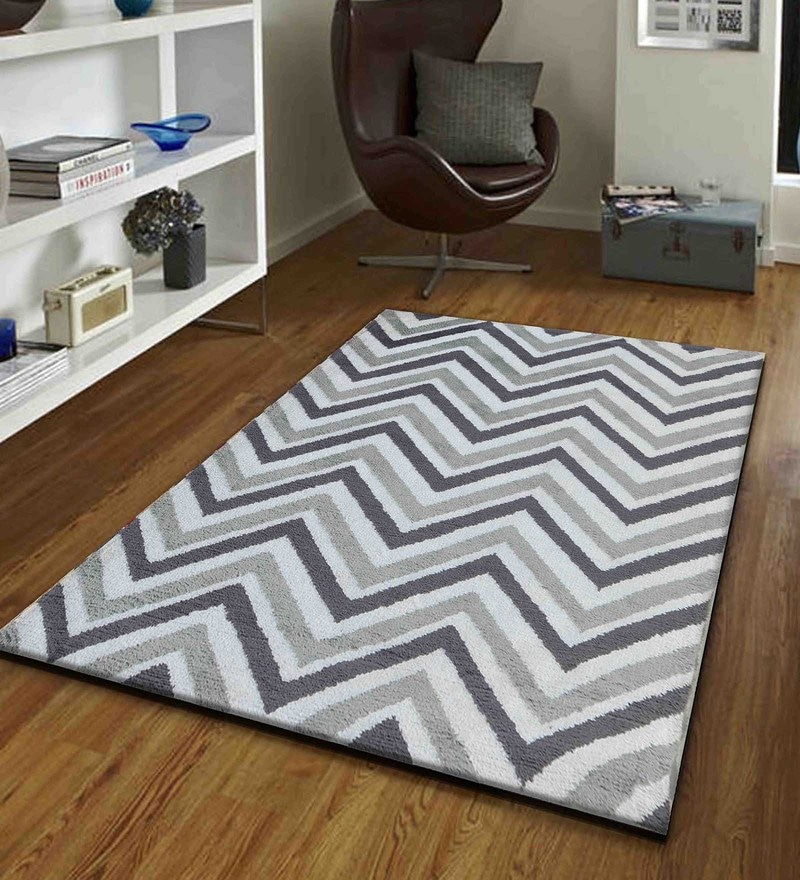 Presto Grey and White Polyester Tufted Hand Knotted Abstract Carpet