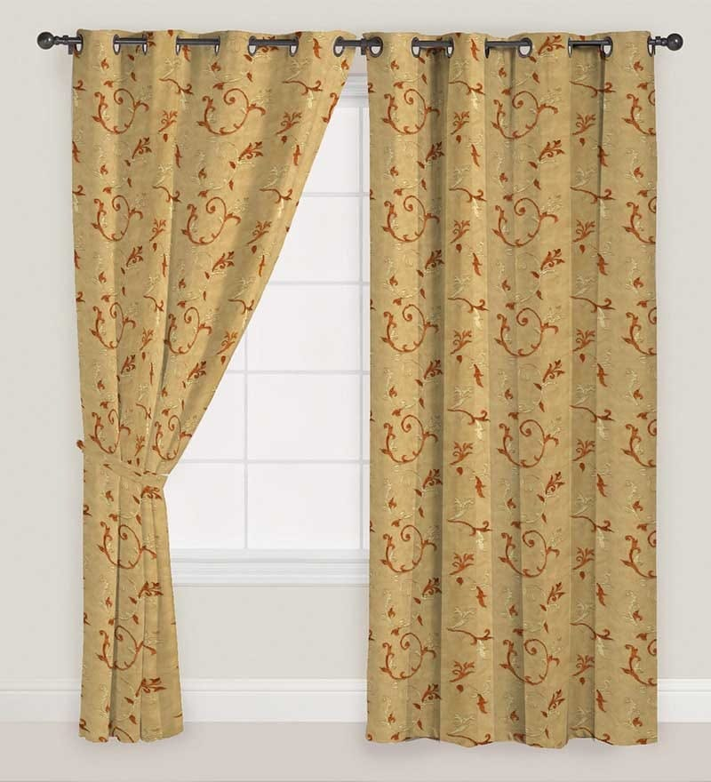 Orange & Gold Floral Window Curtain - Set of 2 by Presto