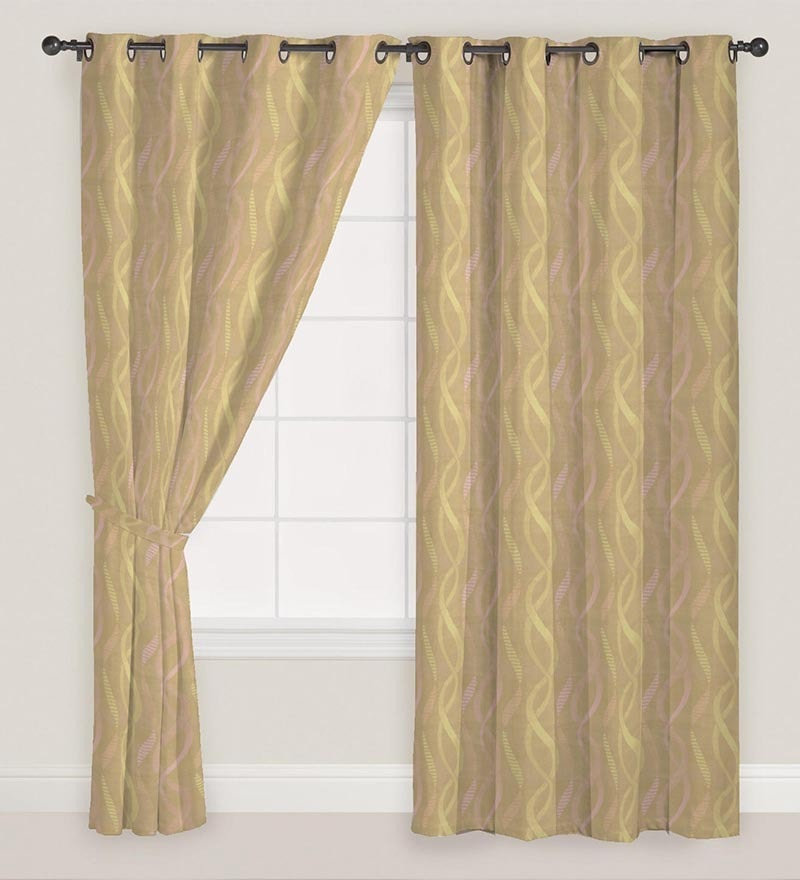 Pink & Gold Polyester 60 x 46 Inch Window Curtain - Set of 2 by Presto