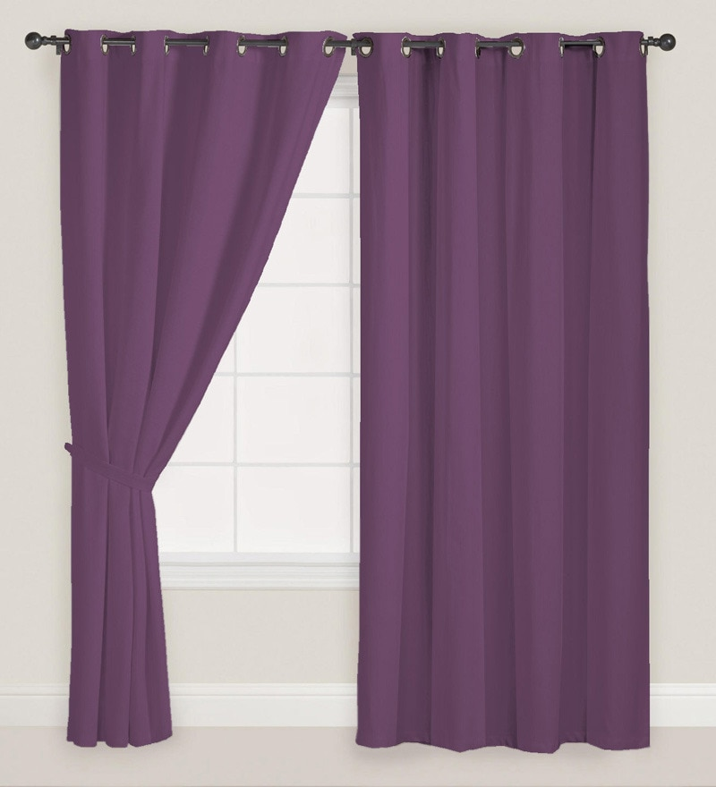 Purple Polyester Solid Door Curtain - Set of 2 by Presto