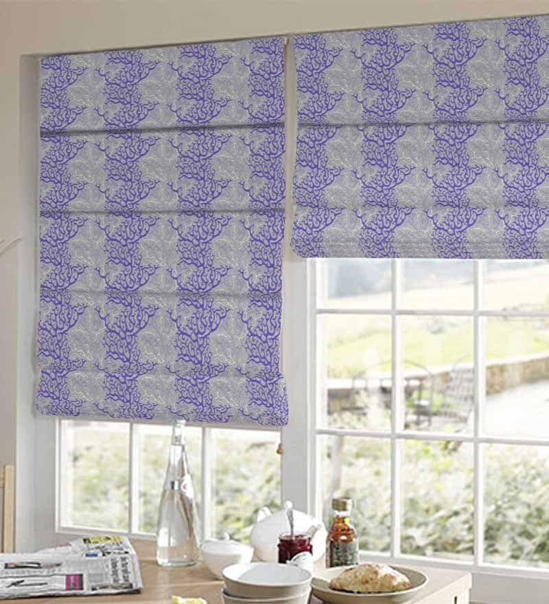 Purple Polyester Floral Window Blind by Presto