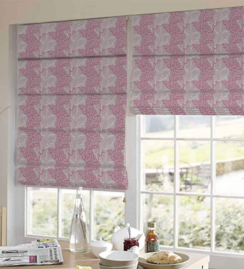 Pink Polyester Floral Window Blind by Presto