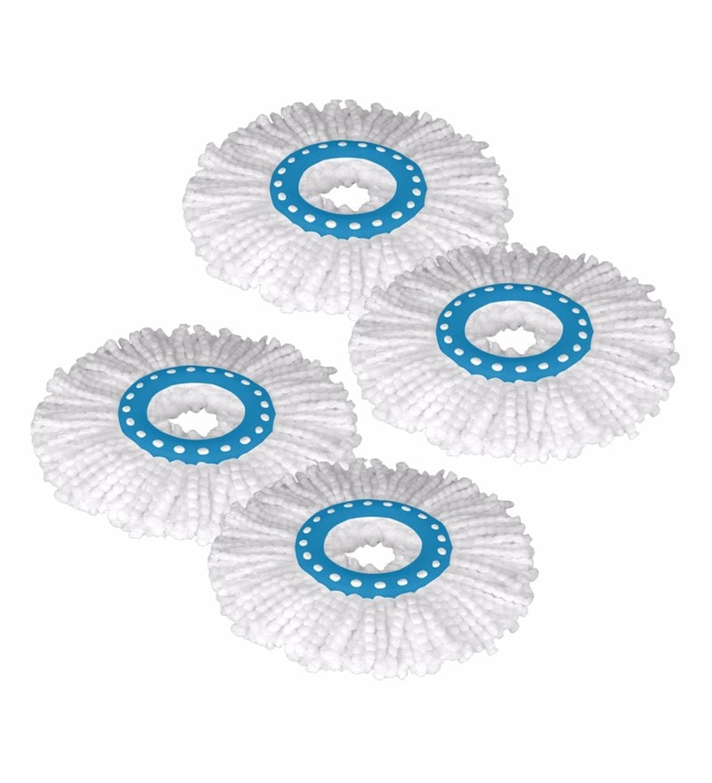 Primeway 360 Degree Rotating White Magic Spin Microfibre Mop Head Refill - Set of 4
