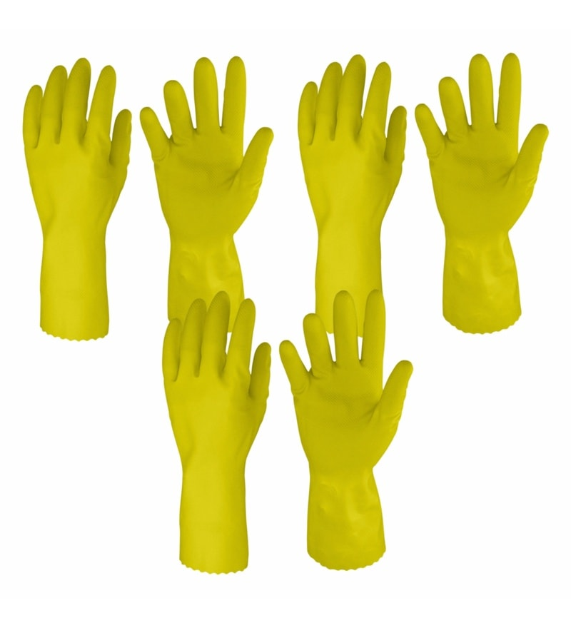 Primeway Yellow Rubberex Just Gloves Flocklined Hand Gloves - Set of 6