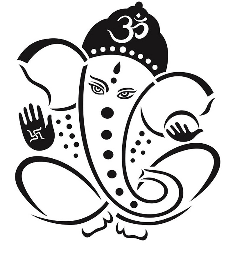 PVC Wall Stickers Beautiful Black God Ganesha by Print Mantras