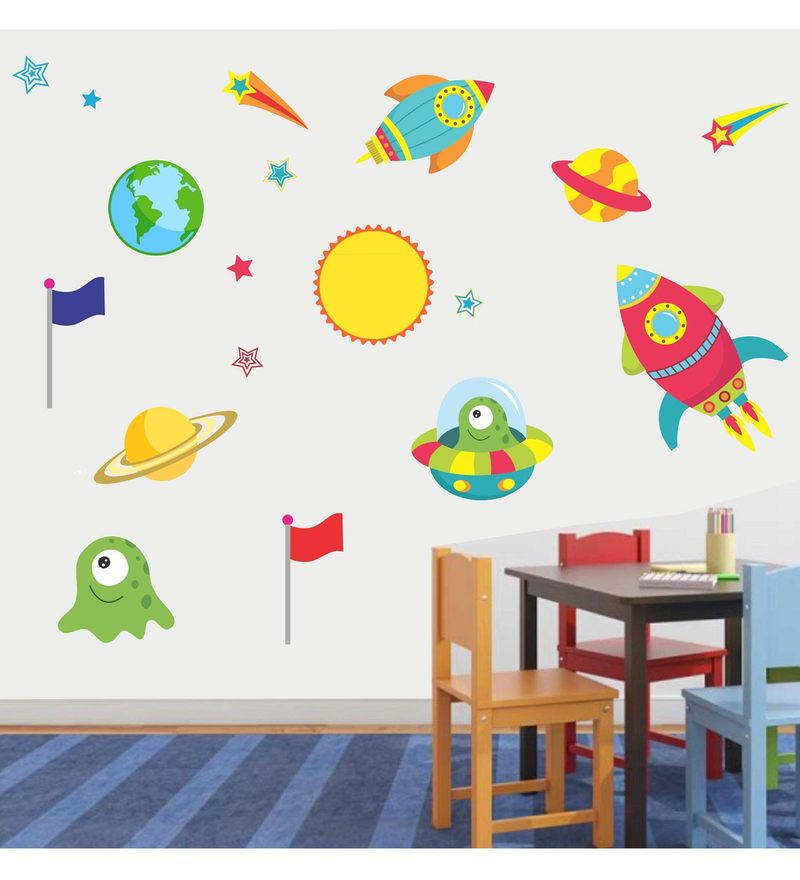 PVC Wall Stickers Space Planet and Stars by Print Mantras