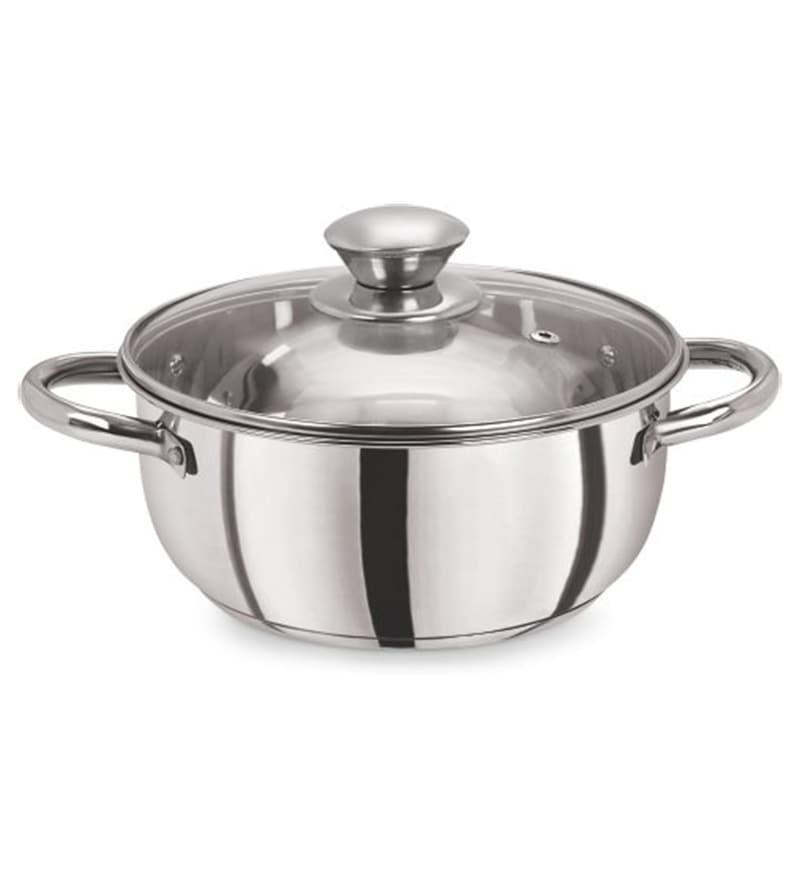 Pristine Tri Ply Induction Compatible Stainless Steel 2.25 L Sandwich Base Casserole with Glass Lid
