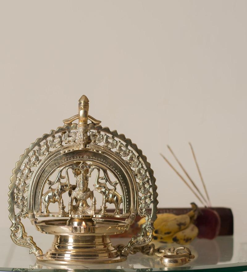 Buy Golden Brass Trishul with Damru by Frestol Online - Festive