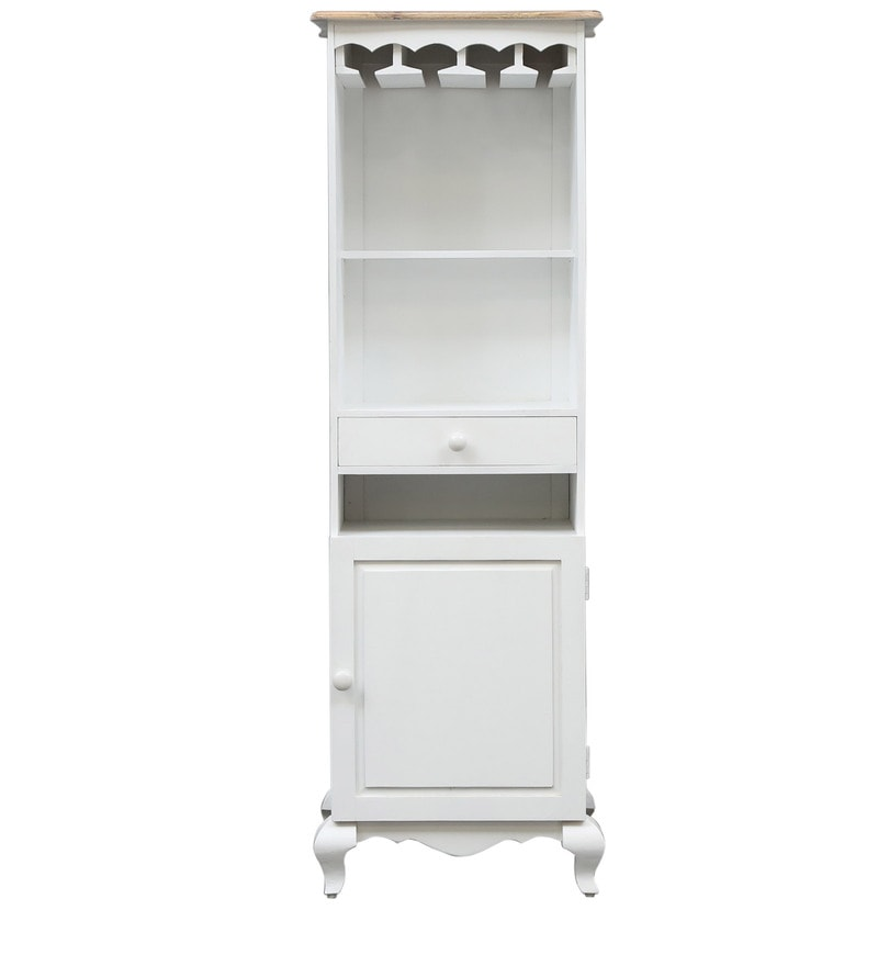 Buy Provencal Solid Wood Tall Bar Cabinet In White Finish
