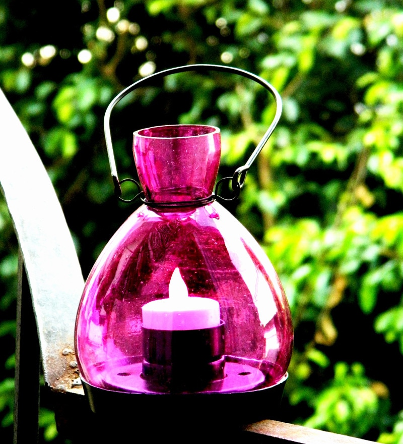 Purple Glass Candle Holder by Market Finds