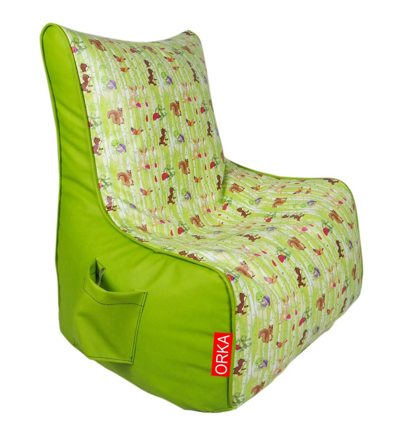 Digital Printed Kids Bean Bag Chair with Beans in Multicolour by Orka