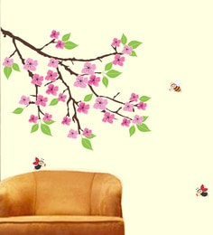 PVC Vinyl 40 X 28 Inch Beautiful Flowers And Bees Wall Sticker