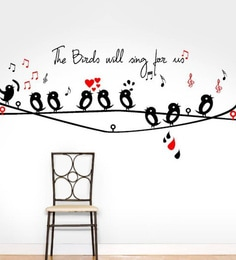 PVC Vinyl Cute Singing Birds Love Notes Wall Sticker