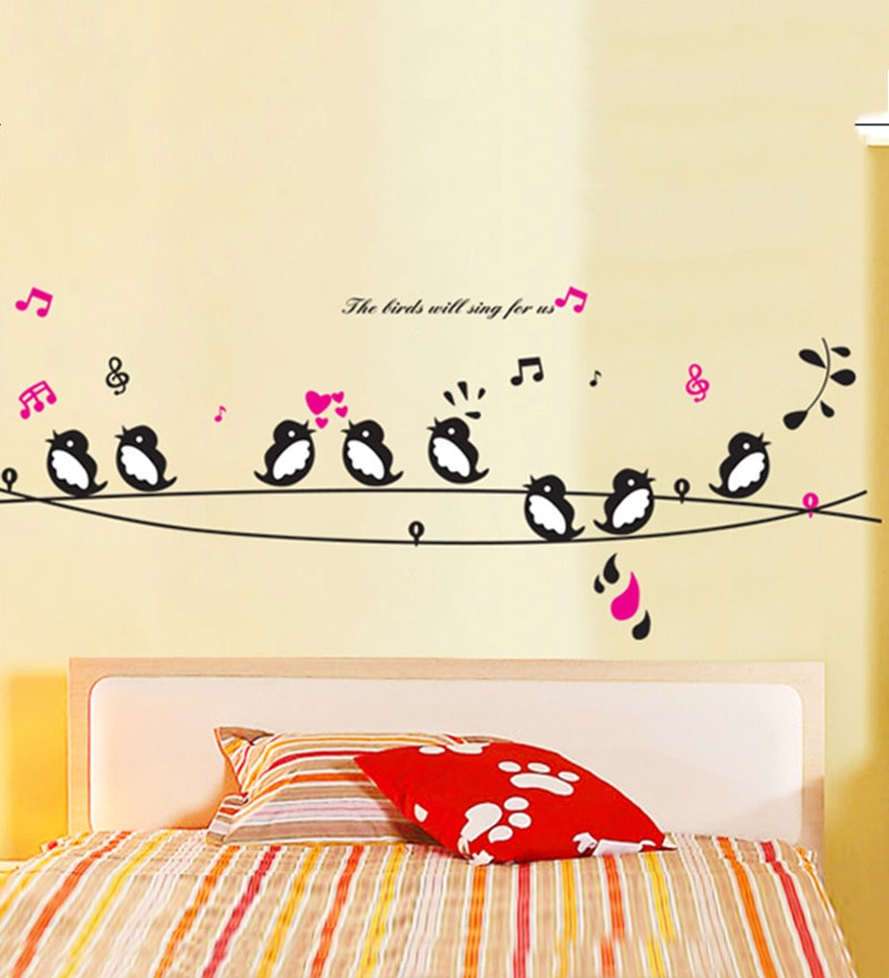 PVC Vinyl 56 x 35 Inch Birds on a Branch will Sing for us Wall Sticker by Print Mantras