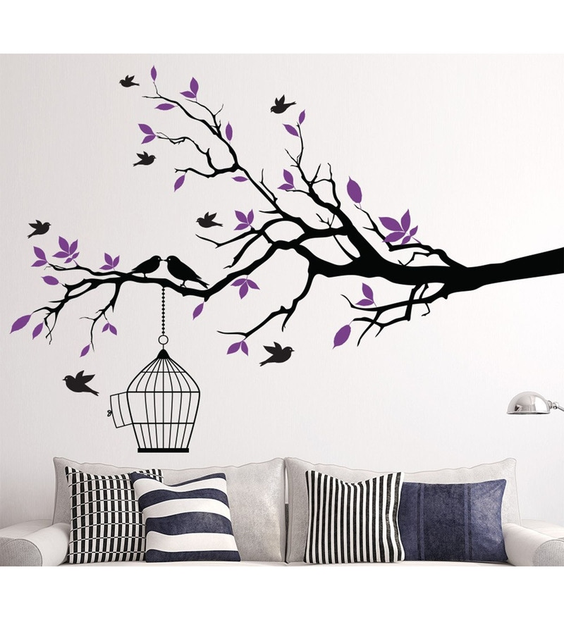 PVC Vinyl 62 x 50 Inch Black Branches Leaves and Birds Wall Sticker by Print Mantras
