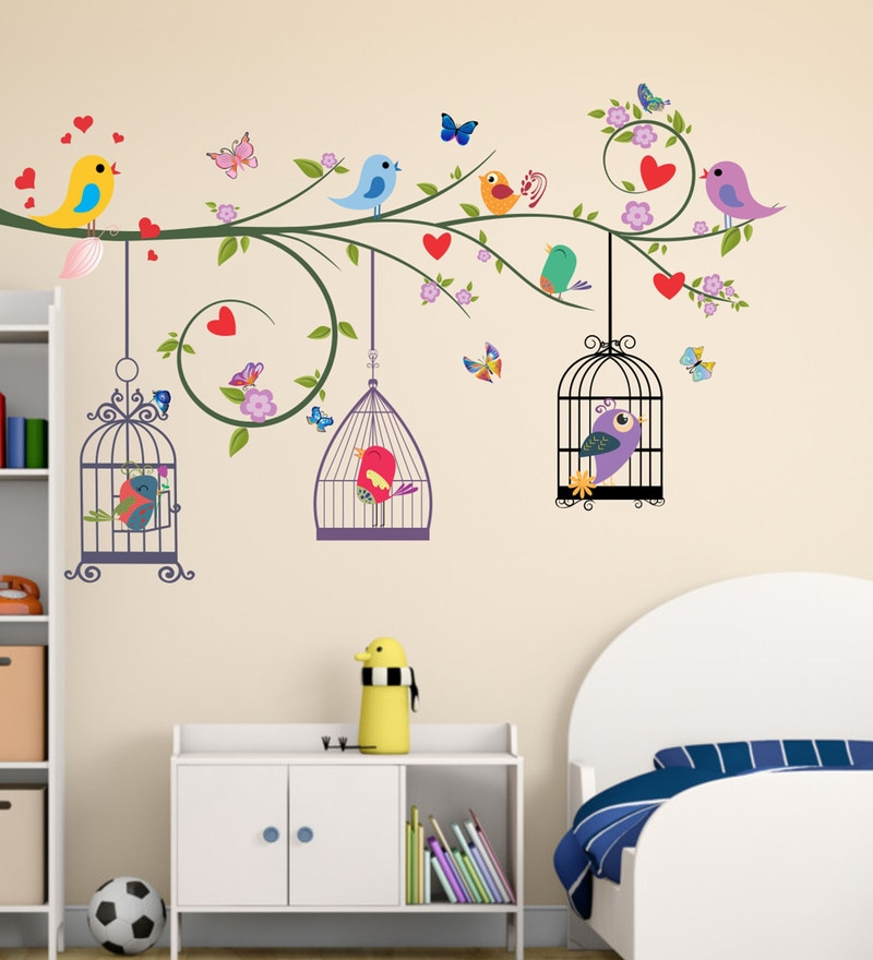 PVC Vinyl Colourful Birds Cages Wall Sticker by Decor Kafe