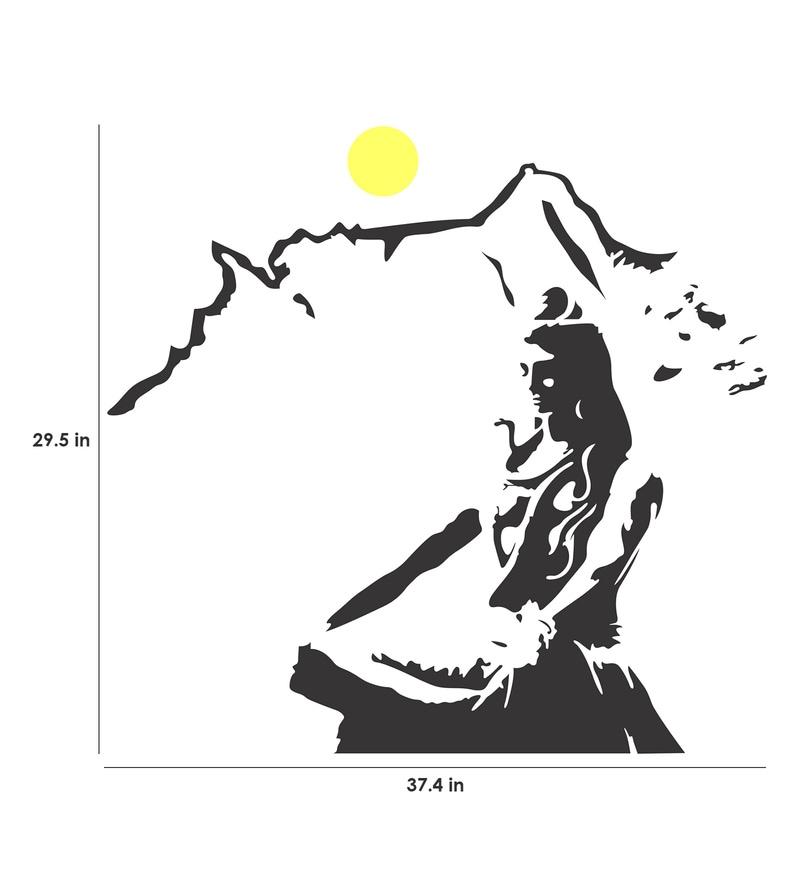 PVC Vinyl Lord Shiva Meditating on Kailash Mountain Wall Sticker by Walltola