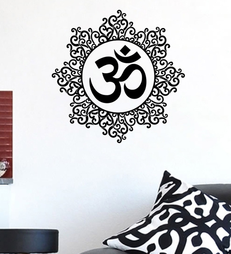 PVC Vinyl Om Floral Wall Sticker by Decor Kafe