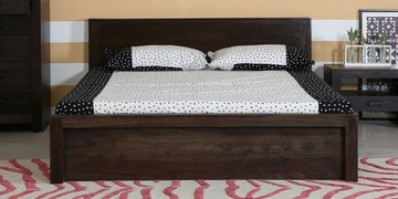 Acropolis Queen Bed With Box Storage In Warm Chestnut Finish