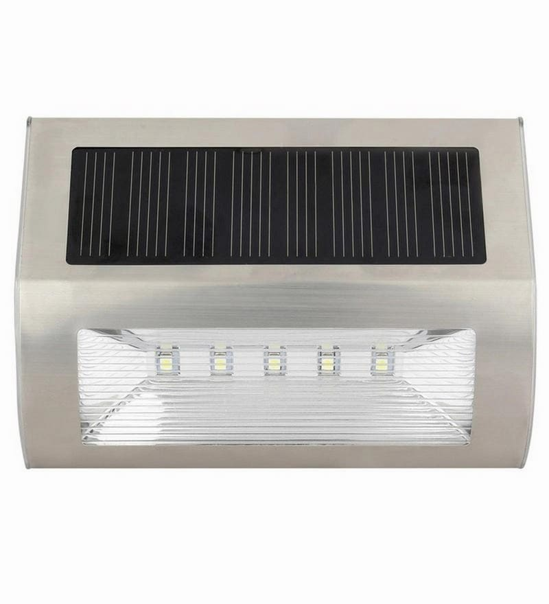 Solar Stair/Pathway Step Lights with 5 Led for Outdoor Garden Stainless Steel by Quace