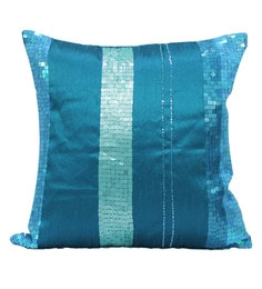 R Home Blue Blend 16 X 16 Inch Embroidery Cushion Covers - Set Of 2