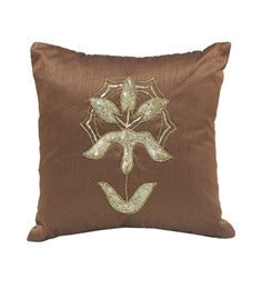 R Home Gold And Brown Polyester 12 X 12 Inch Embroidery Cushion Covers - Set Of 2