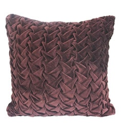 R Home Brown Velvet 16 X 16 Inch Designer Cushion Cover