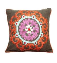 R Home Multicolour Cotton 16 X 16 Inch Embroidery Cushion Cover - 1598267
