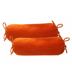 R Home Orange Cotton Velvet 13 X 28 Inch Bolster Cover - Set Of 2 - 1615816