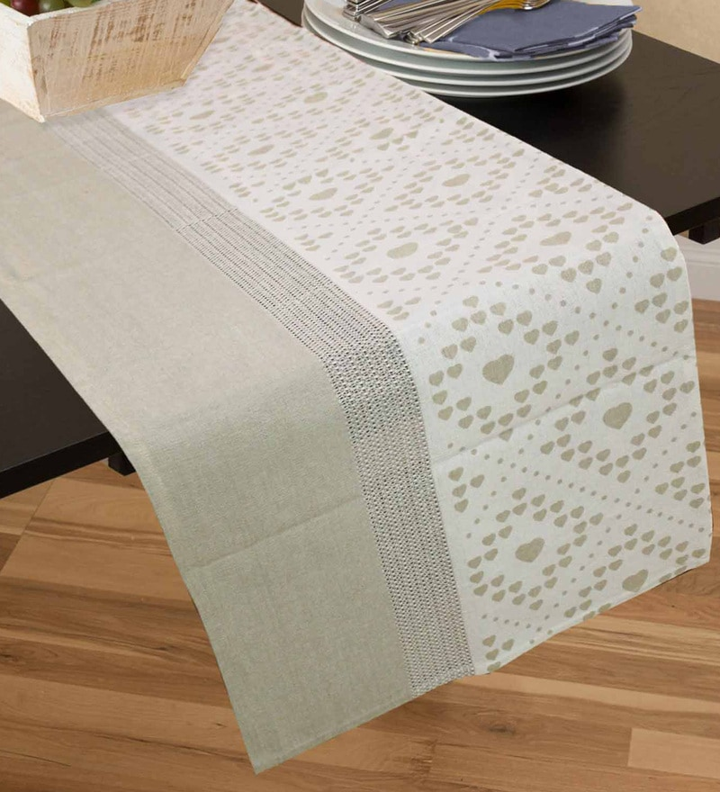 R Home Beige Cotton Table Runner