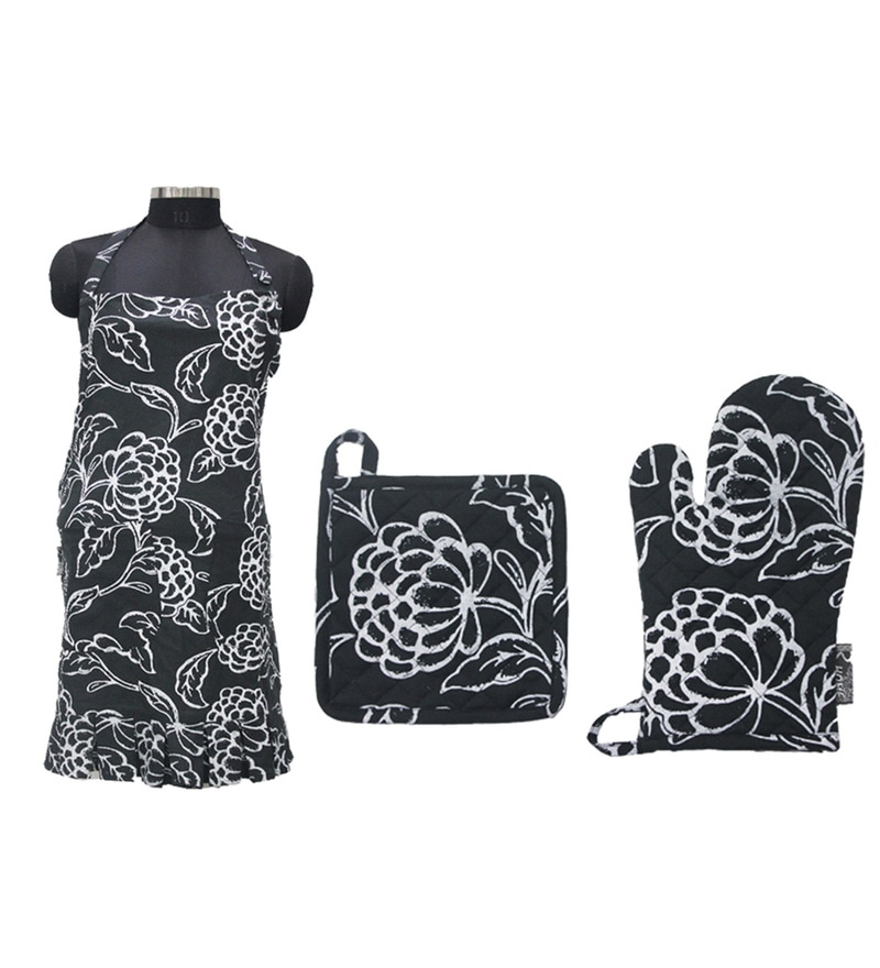 R Home Black Cotton Apron Kitchen Set - Set Of 3