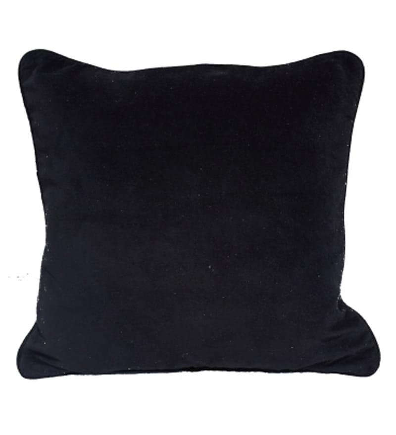 Black Velvet 18 x 18 Inch Solids Cushion Cover by R Home