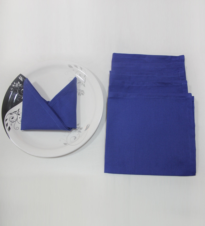 R Home Blue Cotton Table Napkin - Set of 6