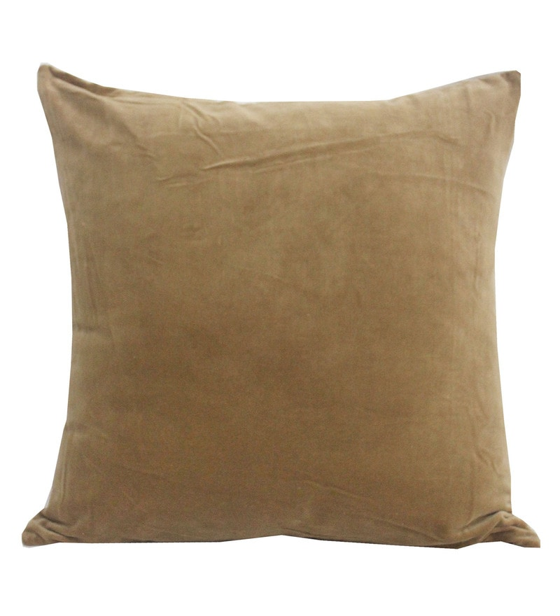 Brown Velvet 20 x 20 Inch Solid Cushion Cover by R Home