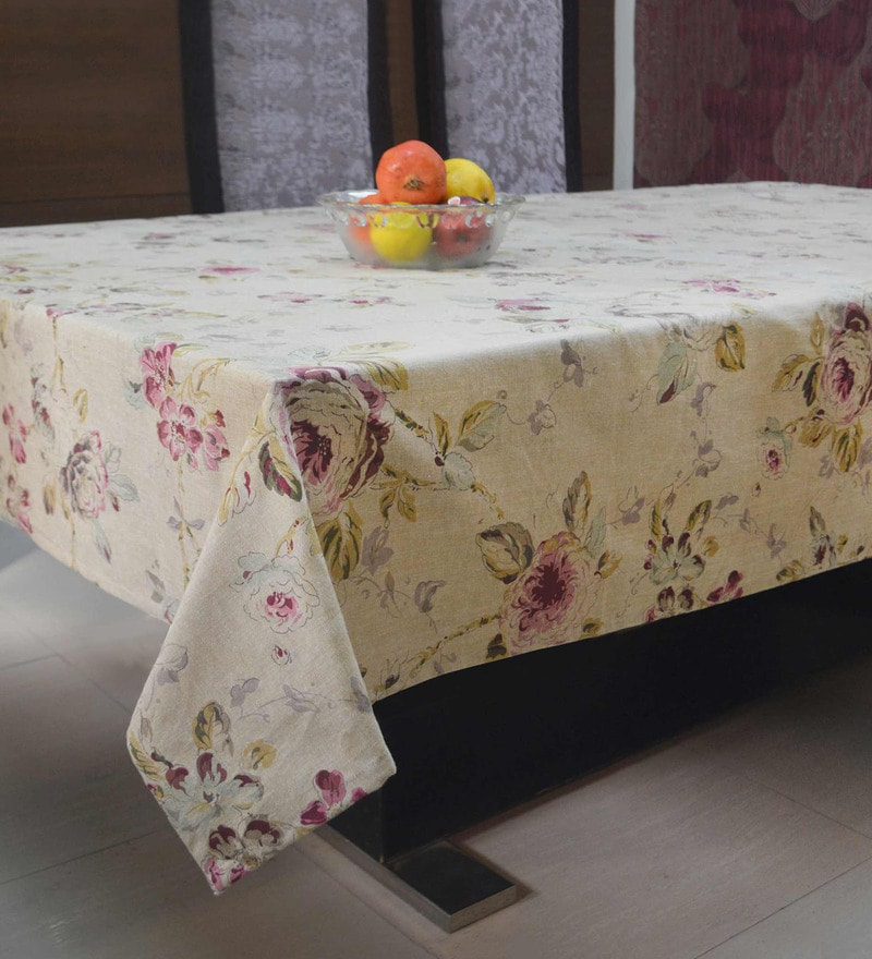R Home Floral Beige Cotton 6 Seater Table Cover