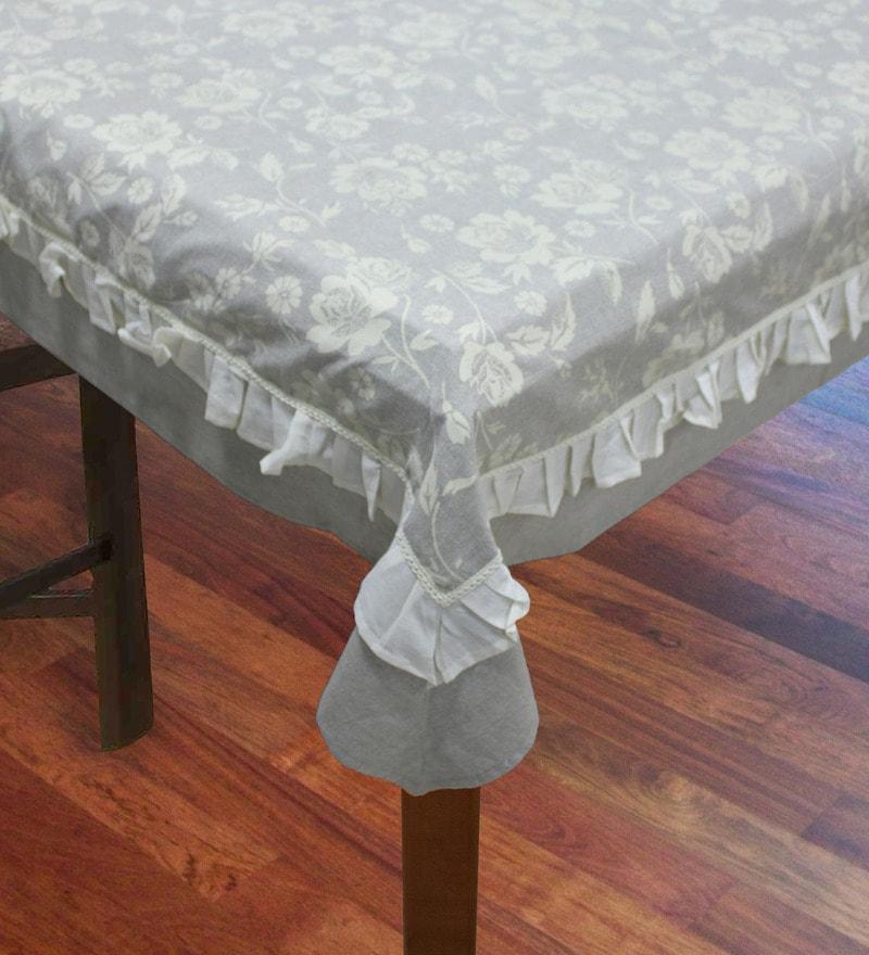 R Home Frill Multicolour Cotton Table Cover
