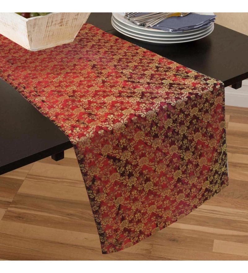 R Home Maroon Silk Table Runner