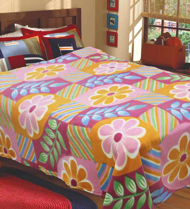 R Home Multicolour Fleece 83 x 87 Inch Blanket