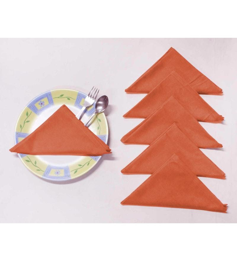 R Home Orange Cotton Table Napkins - Set of 6
