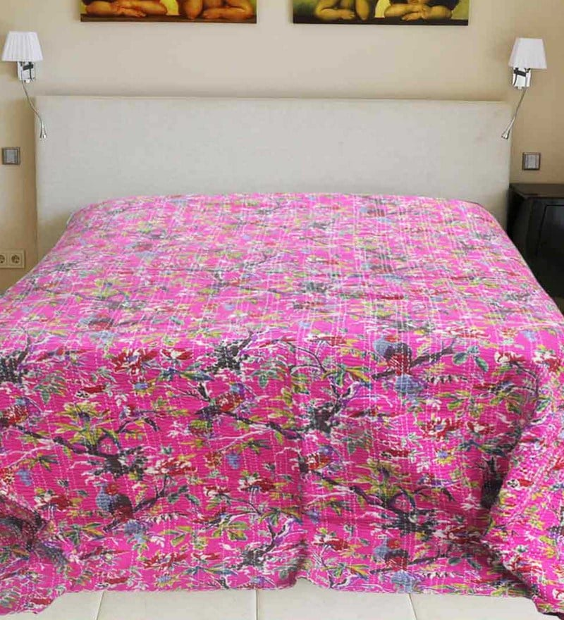 R Home Pink Cotton 94 x 110 Inch King Size Bed Cover.