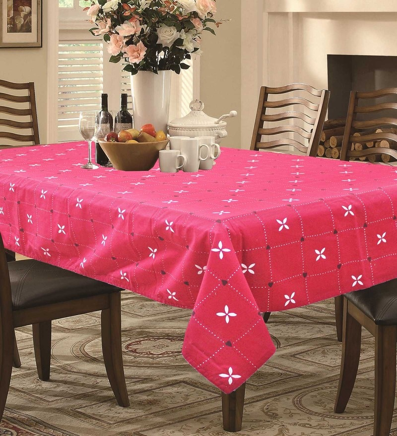 R Home Printed Red Cotton Table Cloth