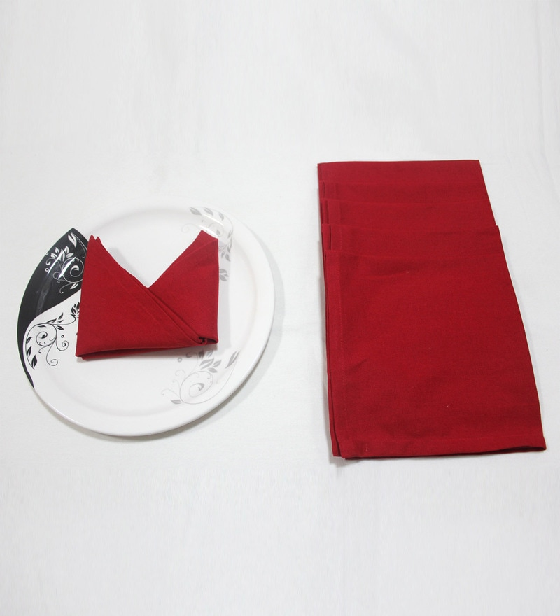 R Home Red Cotton Table Napkin - Set of 6