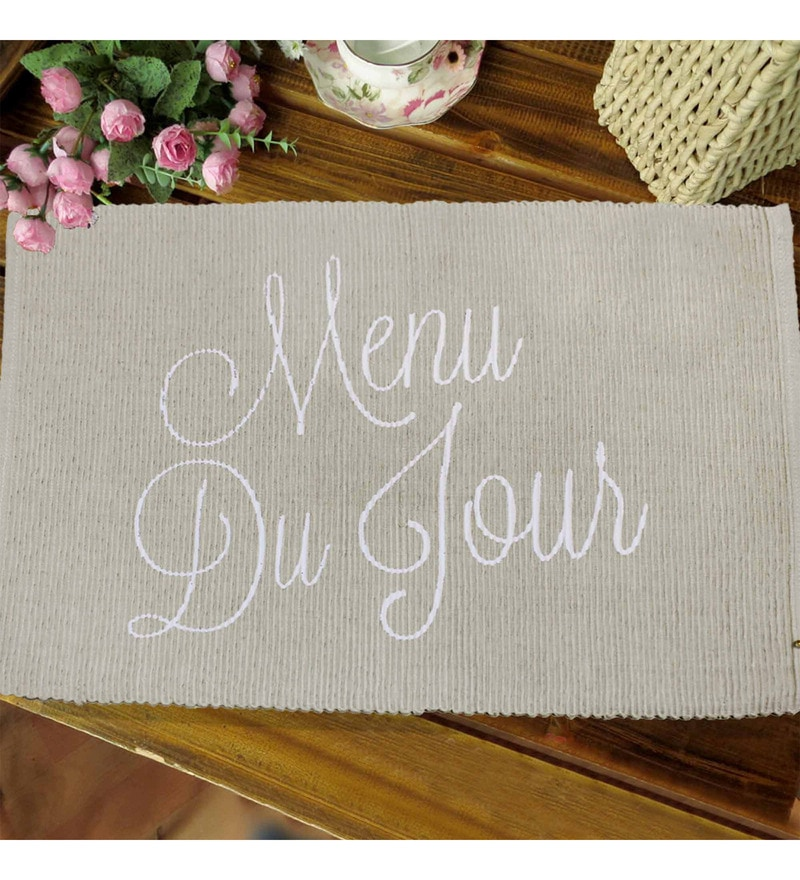 R Home Ribbed Beige Cotton Placemats - Set of 6