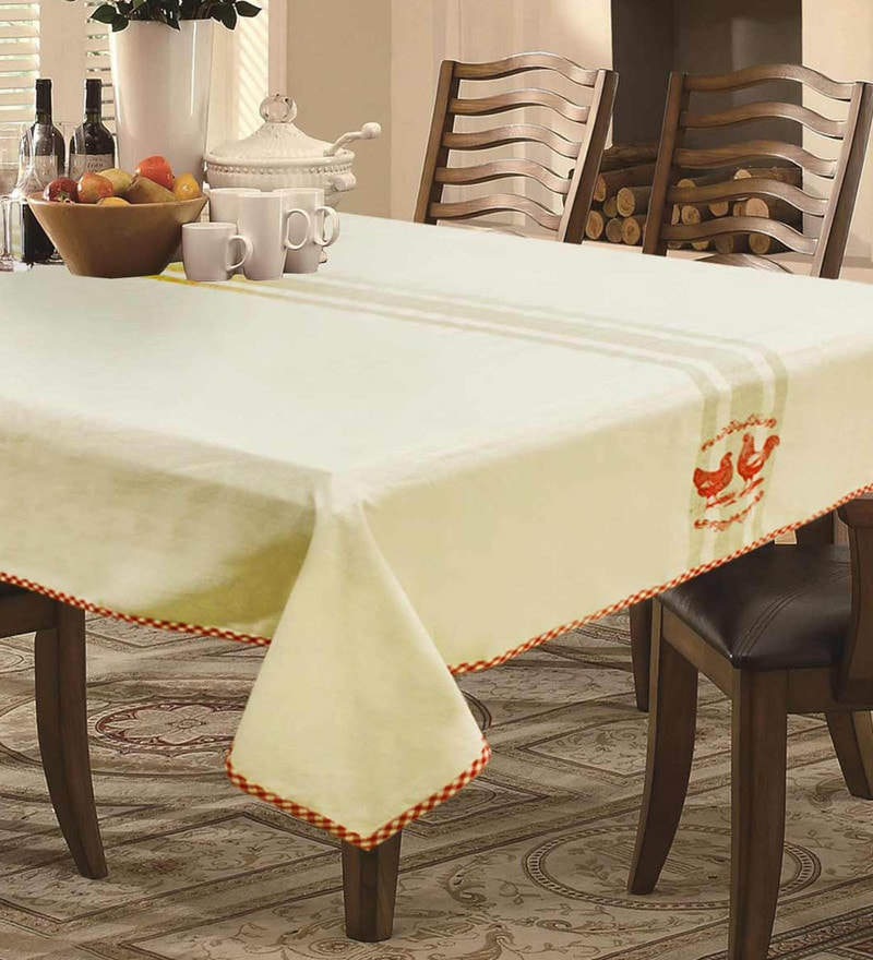 R Home Rooster Print Beige Cotton Table Cloth