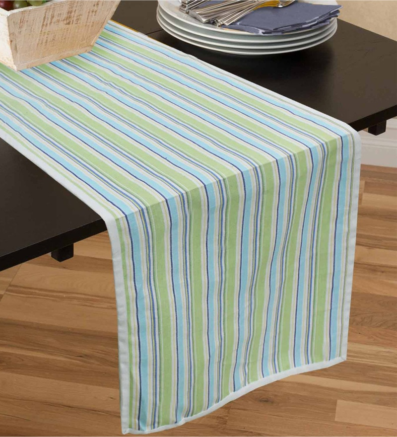 R Home Stripe Multicolour Cotton Table Runner