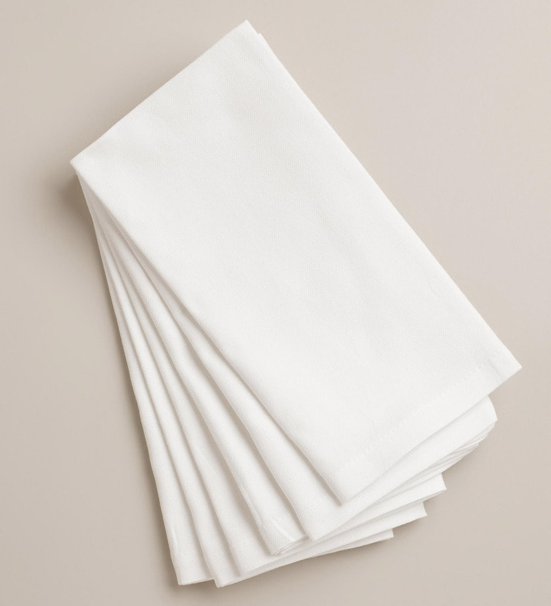R Home White Cotton Table Napkin - Set of 6