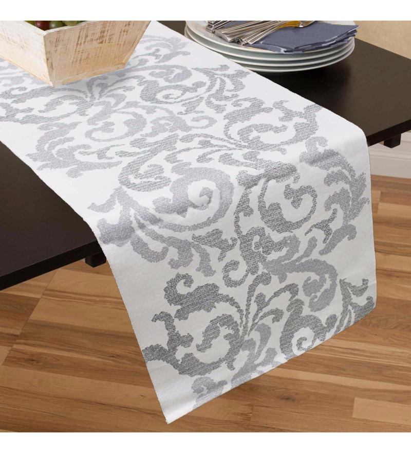 R Home White Cotton Table Runner